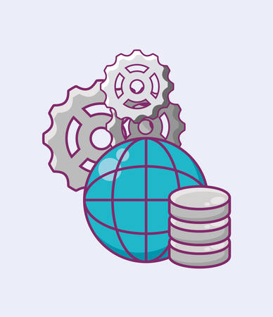 Data server and global sphere with gear wheels over white background, vector illustration
