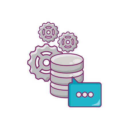 Data server with gear wheels and speech bubble over white background, colorful deign. vector illustration