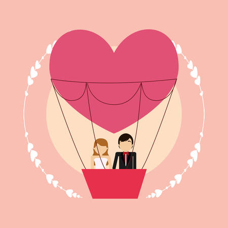 cartoon weeding couple in hot air balloon in heart shape over pink background, colorful design. vector illustration