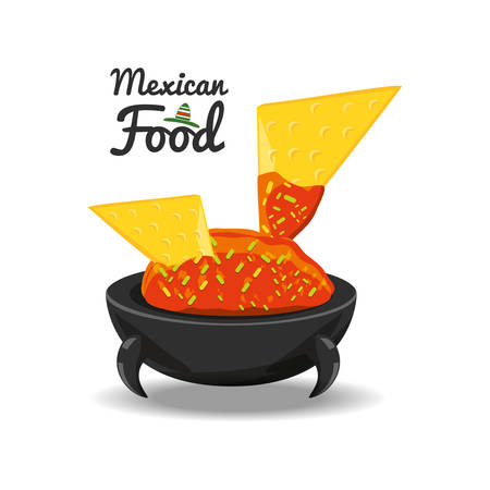 Nachos with salsa traditional mexican cuisine vector illustration graphic design