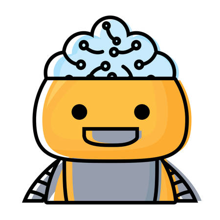 Cartoon robot showing the brain over white background, colorful design.