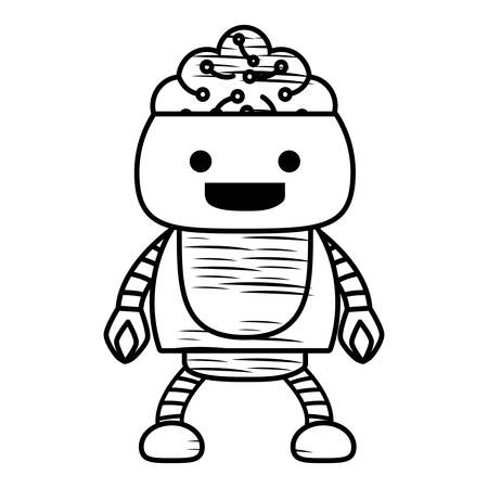 Sketch of cartoon robot showing the brain over white background, vector illustration