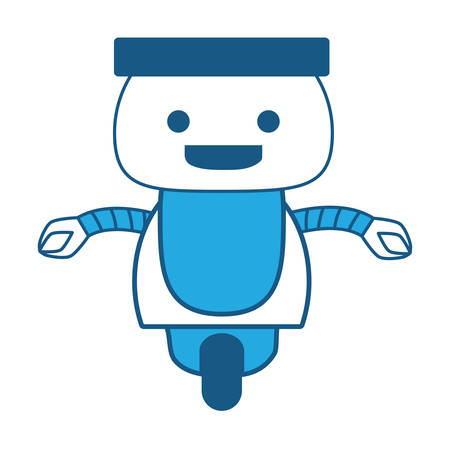Cartoon little robot icon over white background, blue shading design. vector illustration
