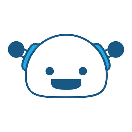 Cartoon happy robot icon over white background, blue shading design. vector illustration