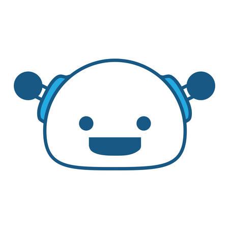 Cartoon happy robot icon over white background, blue shading design. vector illustration