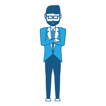 avatar businessman standing with crossed arms icon over white background, vector illustration