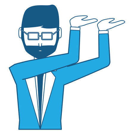 Avatar excited businessman icon over white background, blue shading design. Vector illustration.