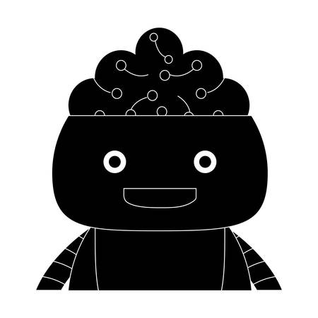 Cartoon robot showing the brain over white background, vector illustration