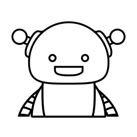 cartoon cute robot icon over white background, vector illustration