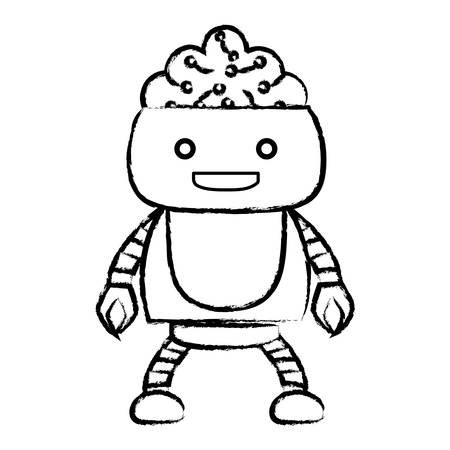 sketch of Cartoon robot showing the brain over white background, vector illustration Vectores