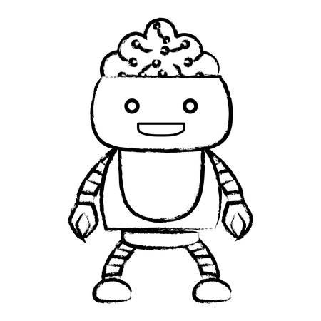 Boceto del robot de dibujos animados que muestra el cerebro sobre fondo blanco, ilustración vectorial