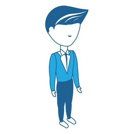 avatar businessman standing over white background, blue shading design.  vector illustration