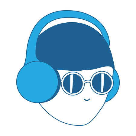 avatar man with glasses and  headphones over white background, blue shading design. vector illustration