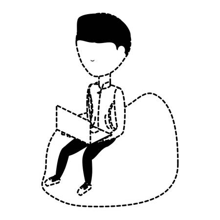 avatar young man sitting on a bean bag and using a laptop computer over white background, vector illustration  イラスト・ベクター素材