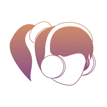 avatar woman head with headphones over white background, colorful design. vector illustration