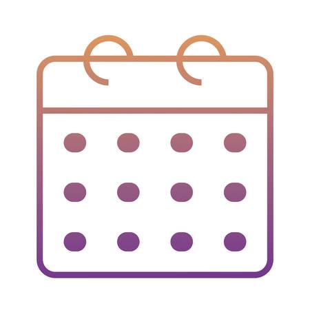 calendar planner icon over white background, colorful design. vector illustration