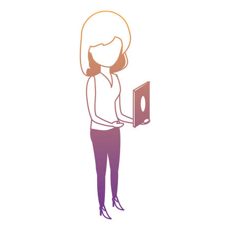 avatar woman standing and using the cellphone over white background, colorful design. vector illustration