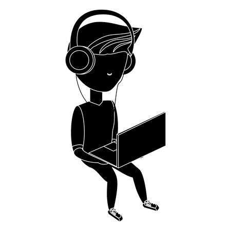 avatar young man sitting and using a laptop computer and headphones over white background, vector illustration Ilustração