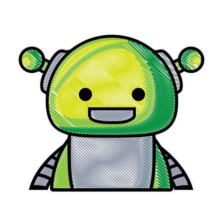cartoon happy robot icon over white background, colorful design. vector illustration
