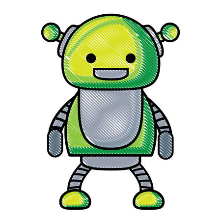 cartoon cute robot icon over white background, colorful design. vector illustration Stock Illustratie