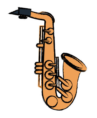 Saxophone instrument icon over a white background