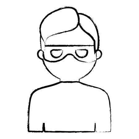 sketch of cartoon thief icon over white background, vector illustration Illustration