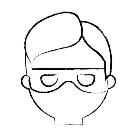 sketch of cartoon thief face icon over white background, vector illustration Illustration