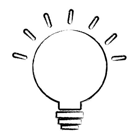 sketch of bright bulb icon over white background, vector illustration