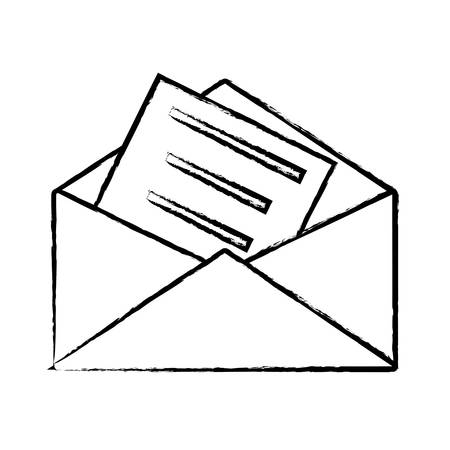 sketch of envelope with a letter icon over white background, vector illustration