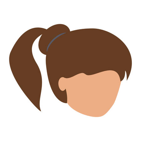 avatar woman with pony tail over white background, colorful design. vector illustration Standard-Bild - 97948006