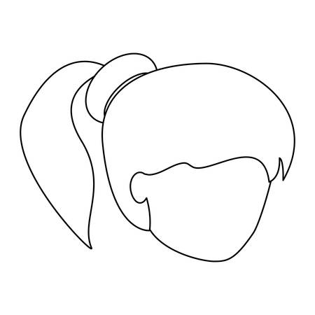 avatar woman with pony tail over white background, vector illustration Standard-Bild - 97920685