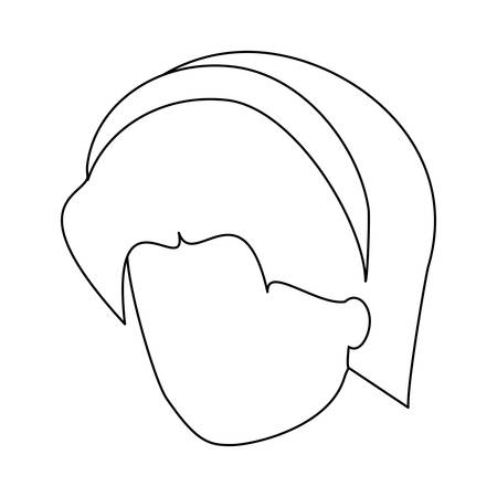 avatar woman face with headband over white background, vector illustration Illustration