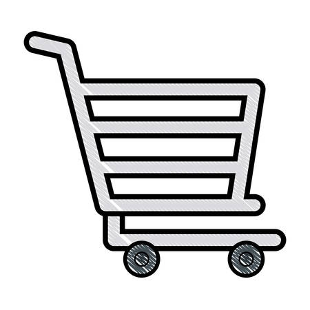 shopping cart icon over white background, colorful design. vector illustration Illustration