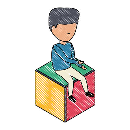 avatar young man sitting on a cube seat over white background, colorful design. vector illustration
