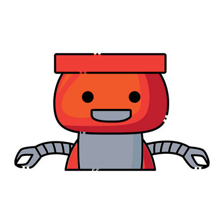 cartoon cute robot icon over white background, colorful design.  vector illustration