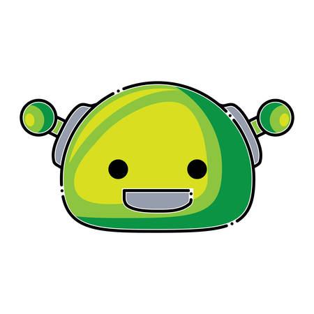 Cartoon robot head icon over white background, colorful design. vector illustration