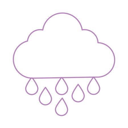 cloud with rainy drops over white background, colorful design. vector illustration Illustration