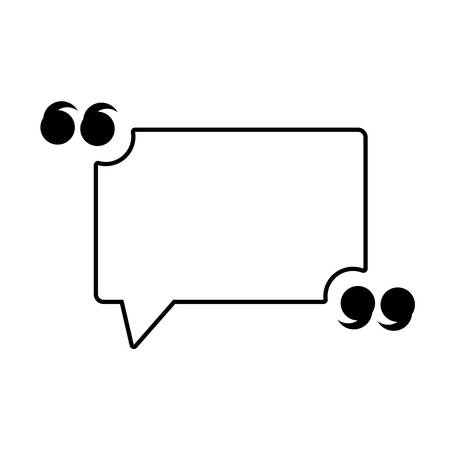 Quotation Mark Speech Bubble icon over white background, vector illustration