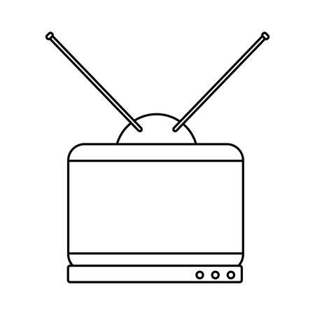 retro television icon over white background, vector illustration