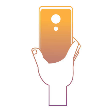 hand holding a smartphone device icon over white background, colorful design. vector illustration