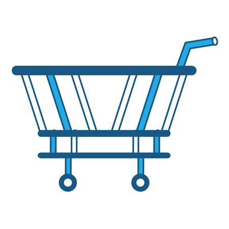 shopping cart icon over white background, blue shading design. vector illustration
