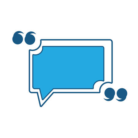Quotation Mark Speech Bubble icon over white background, blue shading design. vector illustration Vectores