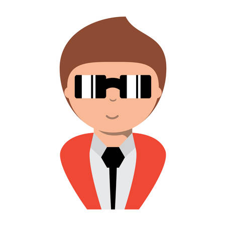 cartoon man wearing suit and sunglasses over white background, colorful design. vector illustration