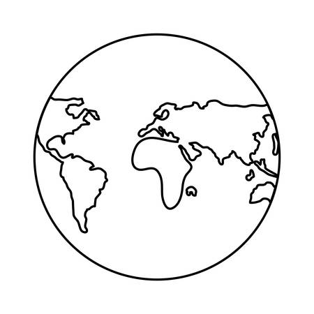 earth planet globe icon over white background, vector illustration