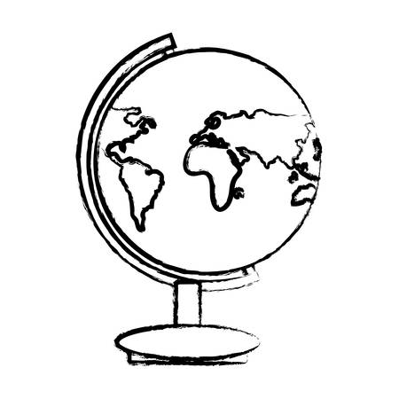 sketch of earth planet geography tool icon over white background, vector illustration
