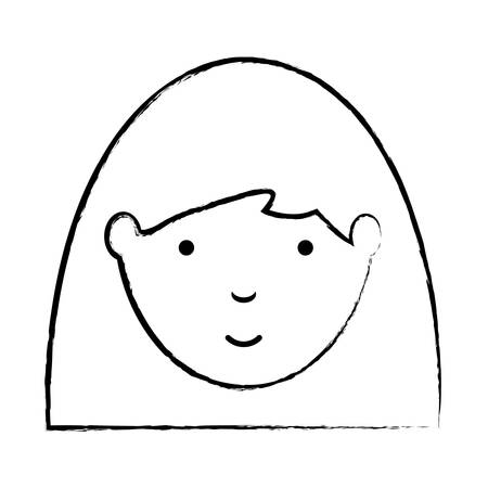 sketch of cartoon woman with long hair icon over white background, vector illustration Illusztráció