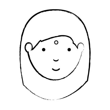 sketch of Hindu woman over white background, vector illustration