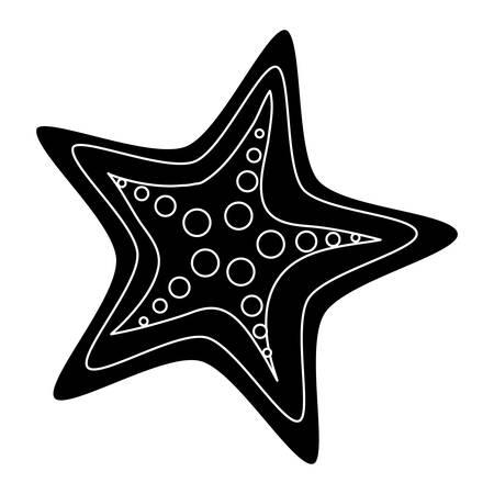 sea star icon over white background, vector illustration