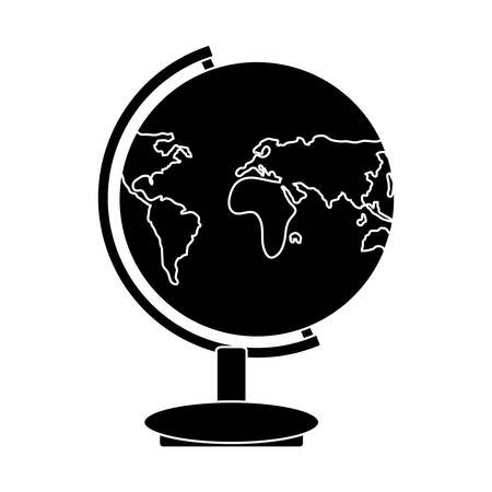 earth planet geography tool icon over white background, vector illustration