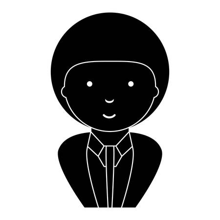 Cartoon businessman with afro hairstyle over white background, vector illustration.